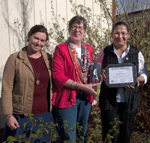 "Joleen Schilling (left) and Gail Gredler (center), horticulture instructors at Chemeketa Community College, present a certificate of achievement to  the ""2015 Horticulture Student of the Year"" — Soledad Garcia. With this honor came a $250  award and a pair of professional gardening shears."
