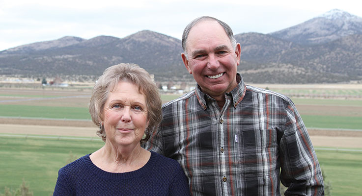 Butch and Sharon McPheeters were sweethearts at Redmond High School in Redmond, Oregon. They married in 1967 while Butch was serving in the United States Air Force. They purchased their farm in 1974, adding sod production in 1979 and nursery material in 1988. Photo by Curt Kipp