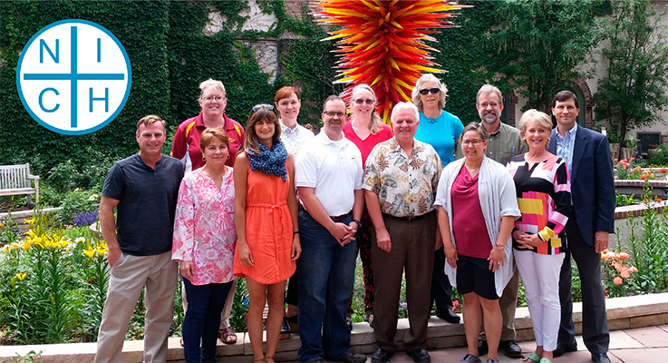 NICH leaders and advisors met at the Denver Botanic Gardens in June 2016 for the 2nd NICH strategic planning retreat. From left to right, back row: Cyndi Haynes (Iowa State University), Shannon Spurlock (Denver Urban Gardens), Lucy Bradley (NC State University), Susan Mahr (University of Wisconsin), Tom Underwood (American Horticultural Society), Casey Sclar (American Public Gardens Association). Front row: Rusty Collins (Colorado State University), Ellen Bauske (University of Georgia), Jessica Romer (Denver Urban Gardens), Dave Close (Virginia Tech), Tom Bewick (USDA-NIFA), Gail Langellotto (Oregon State University) and Suzi McCoy (Garden Media Group).
