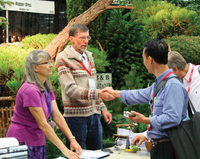 Joni and Denny Hopper greet Farwest Show attendees at their verdant trade show booth. Photo by Curt Kipp