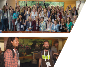 Top: Women in Horticulture connect at the Farwest Show. Bottom: New professionals share ideas at the Emergent group gathering.