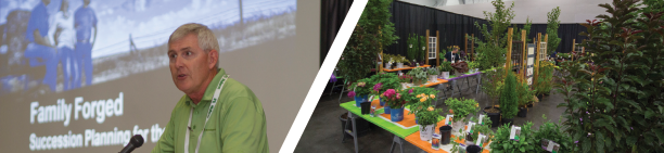 Left: Mickey Hatley, Northwest Farm Credit Services, moderated a talk about succession planning. Right: New Varieties Showcase featured 62 plant introductions.