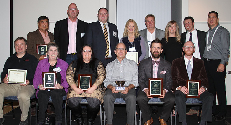 This year's winners at the 2018 OAN President's Awards Banquet. Not present to accept their awards were Bauman's Farm and Garden (2018 Retailer of the Year) and John Maurer of Evergreen Growers Supply (Outstanding Stewardship Award).