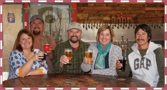 Key personnel from Arrowhead Ornamentals hang out at the Coleman family's Ordnance Brewing taproom in Wilsonville, Oregon, including Jill and Jaime Rodriguez, Mike and Gail Coleman and Faustino Palafox.