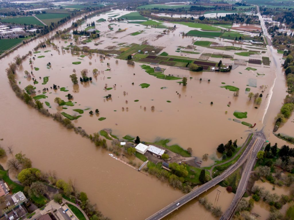 Drone footage shows flooding of the Willamette River, near Vegetable Crops Farm and Trysting Tree Golf Club in Corvallis, Oregon. Photo by Jay Pscheidt
