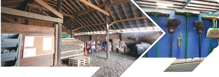 Left: Robinson Nursery renovated a horse barn for storage. Photo by Bill Goloski. Right: Shadow boards hold brooms at Smith Gardens. Photo courtesy of the Peters Company.