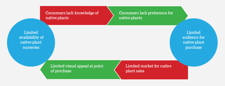 Figure 1. Limited availability of native plants perpetuate a lack of consumer knowledge of — and preference for — native plants, which limits their sales potential and a grower's willingness to produce them.