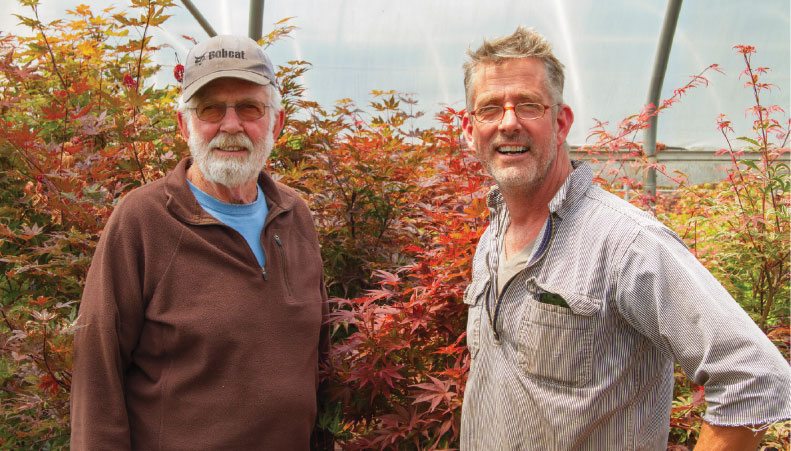 (From left) Jan and Kevin Kelley are the father-and-son duo that successfully run Kelleygreen Nursery. Photo by Curt Kipp